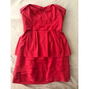 BCBG Pink-Red Strapless Peplum Cocktail Dress